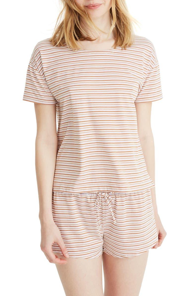 MADEWELL Stripe Pajama Tee, Main, color, ICED LILAC NAUTILUS STRIPE