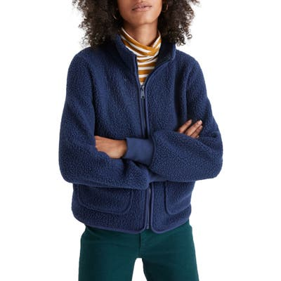 Madewell Polartec Fleece Zip-Up Jacket, Blue