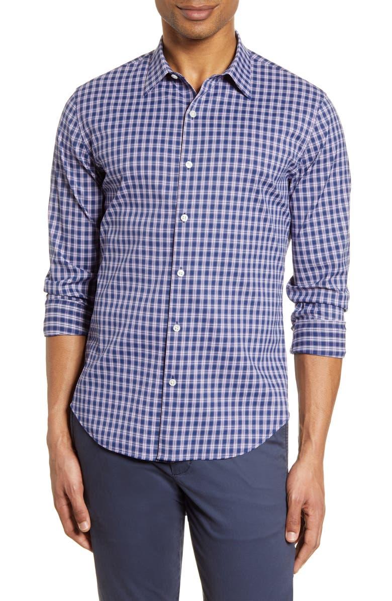 BONOBOS Slim Fit Plaid Button-Up Performance Shirt, Main, color, LANDSDOWNE PLAID PINK ORCHID