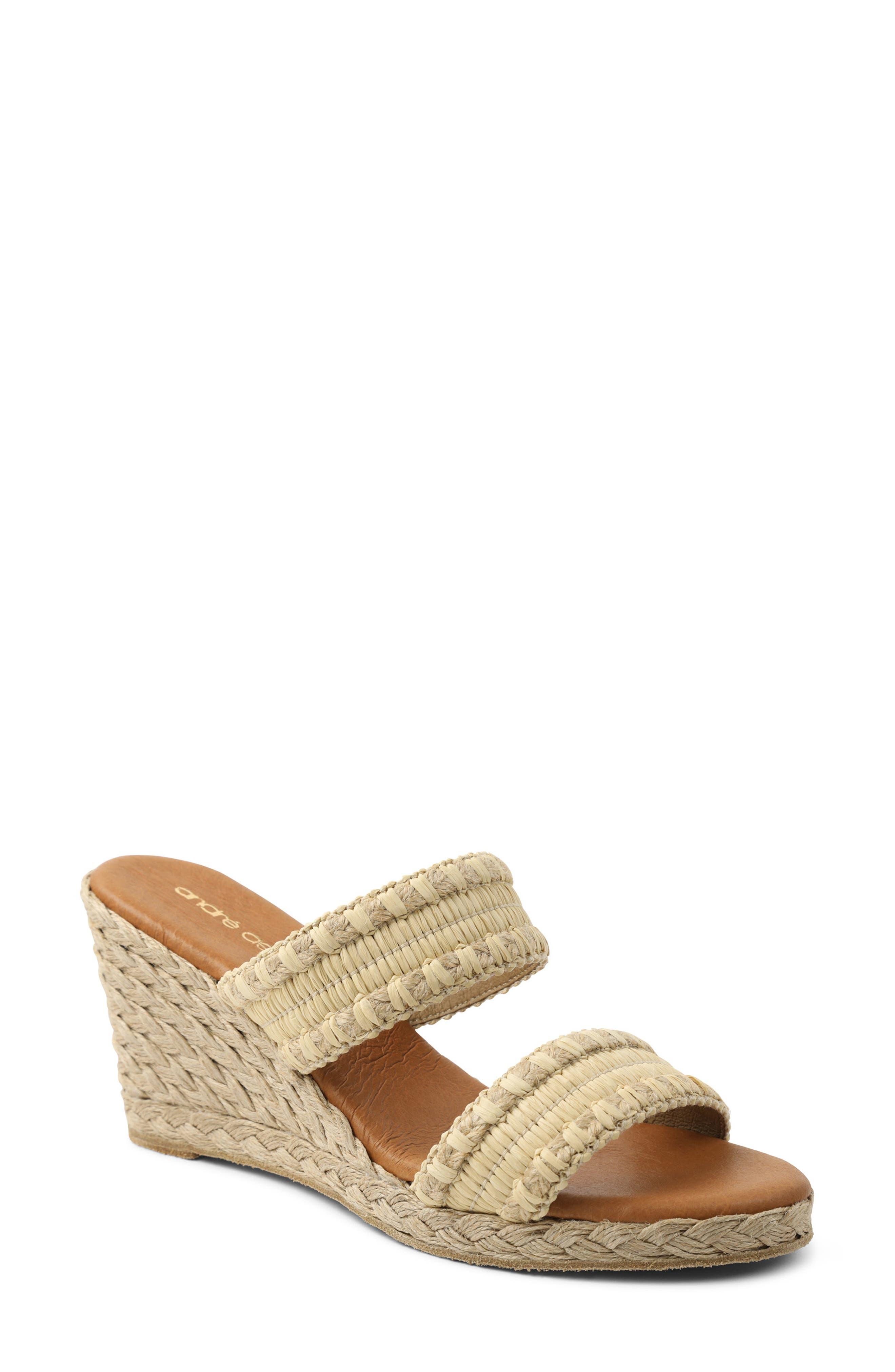 Nolita Raffia Wedge Slide Sandal