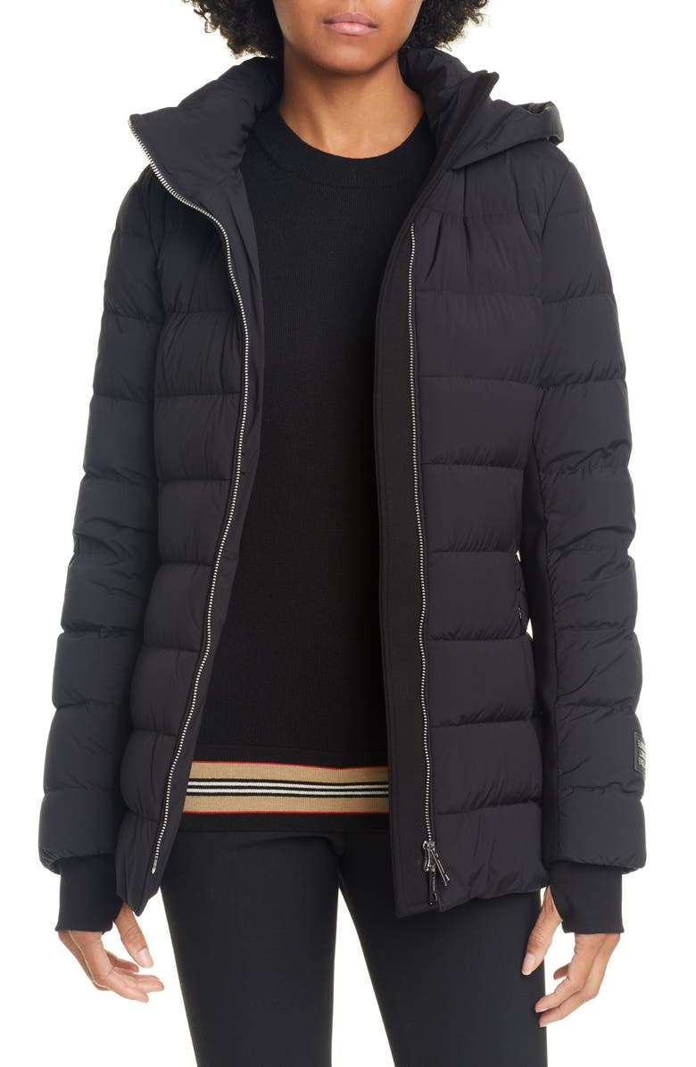 BURBERRY Newbridge Hooded Down Puffer Jacket, Main, color, BLACK