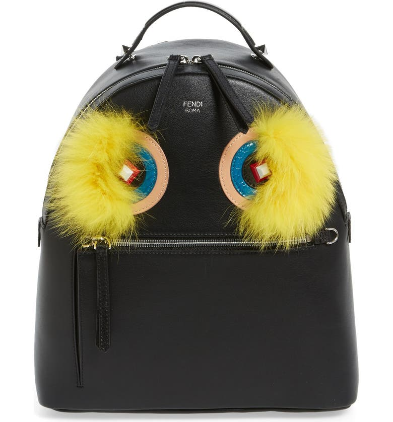 FENDI 'Monster' Leather Backpack with Genuine Fox Fur & Snakeskin Trim, Main, color, 002