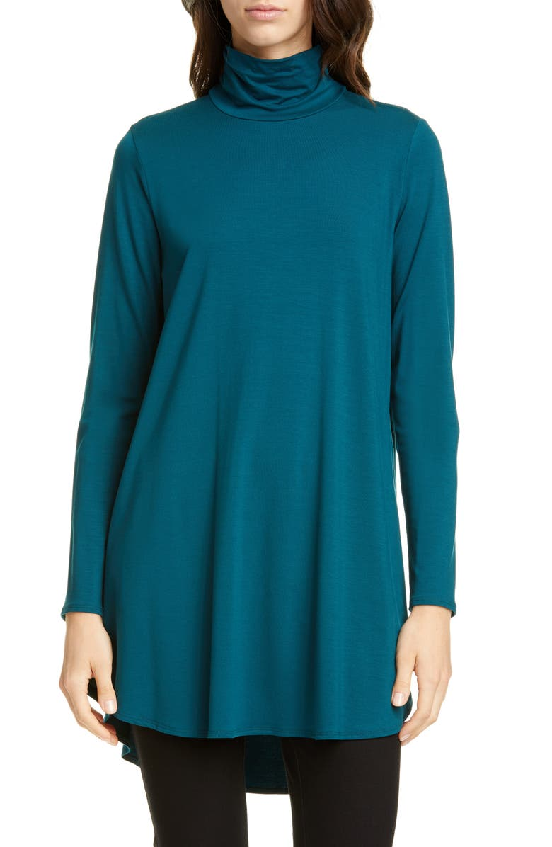 EILEEN FISHER Scrunch Neck Tunic, Main, color, BLUE SPRUCE