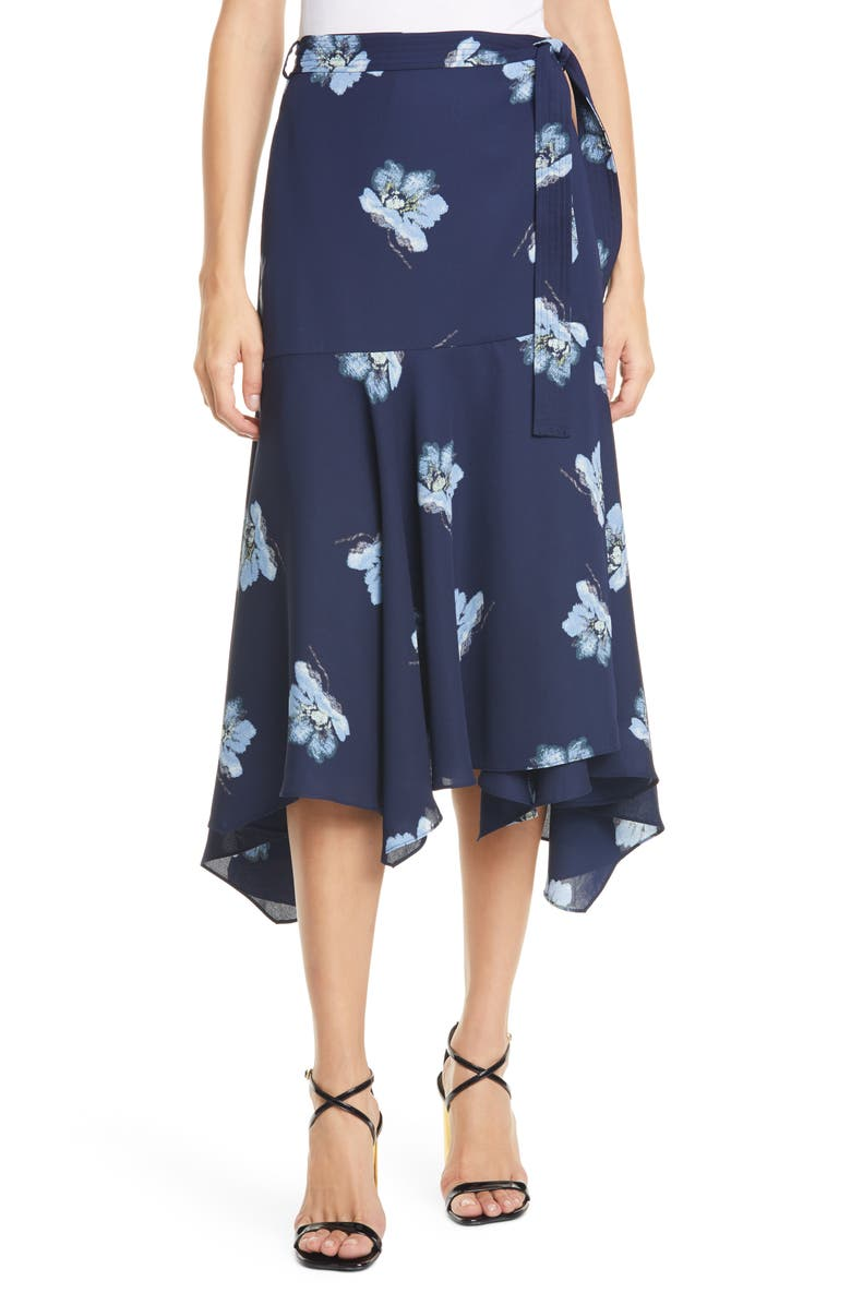 CLUB MONACO Floral Print Wrap Midi Skirt, Main, color, 400