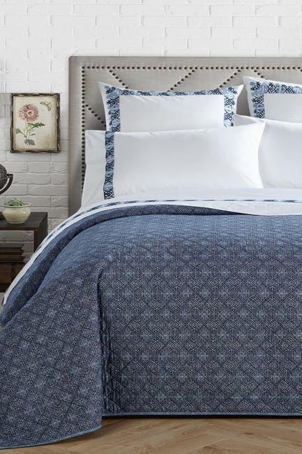 Image of Chic Home Bedding Navy Birch Garden 200 Thread Count Kilim Embroidered King 4-Piece Sheet Set