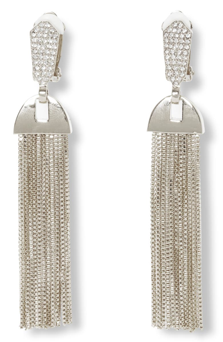 VINCE CAMUTO Pavé & Chain Tassel Clip-On Drop Earrings, Main, color, RHODIUM/ CRYSTAL