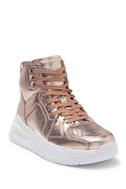 Image of Balmain B-Ball High Top Metallic Leather Sneaker