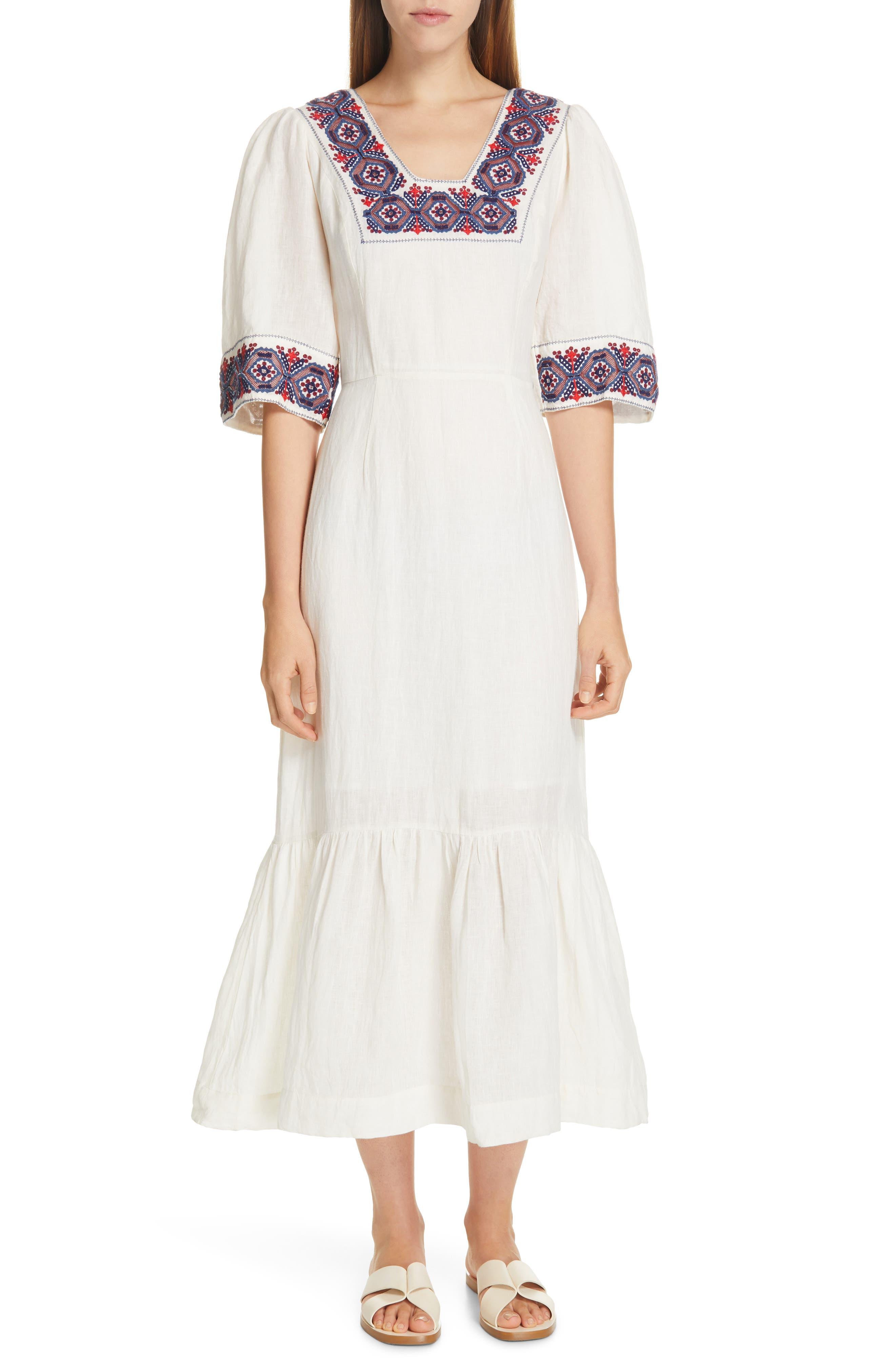 70s Dresses – Disco Dress, Hippie Dress, Wrap Dress Womens Sea Leah Embroidered Puff Sleeve Long Cotton Dress Size 12 - Ivory $284.98 AT vintagedancer.com