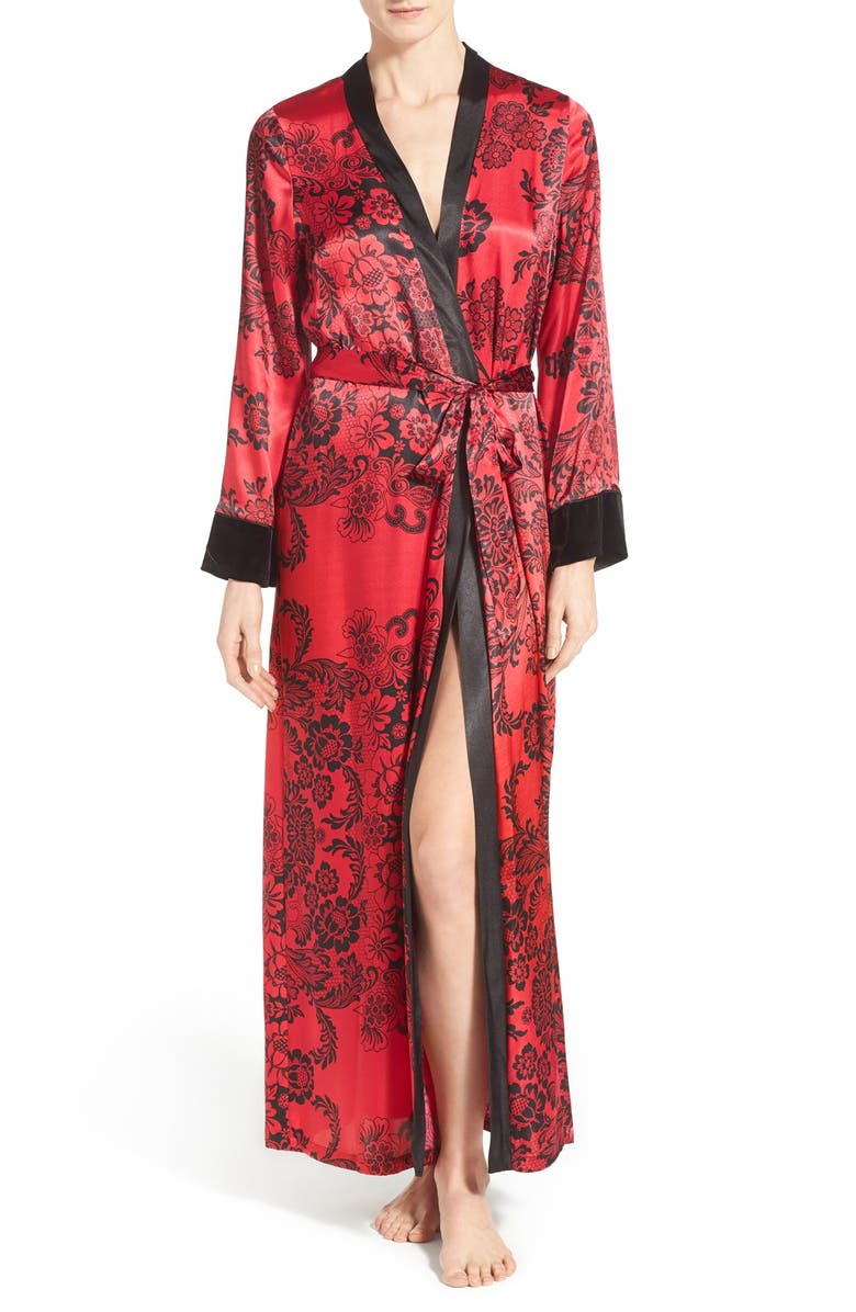 IN BLOOM BY JONQUIL 'Scarlet' Print Satin Long Robe, Main, color, 600