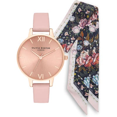 Olivia Burton Sunray Leather Strap Watch Set,