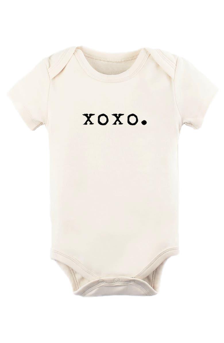 TENTH & PINE XOXO Organic Cotton Bodysuit, Main, color, NATURAL