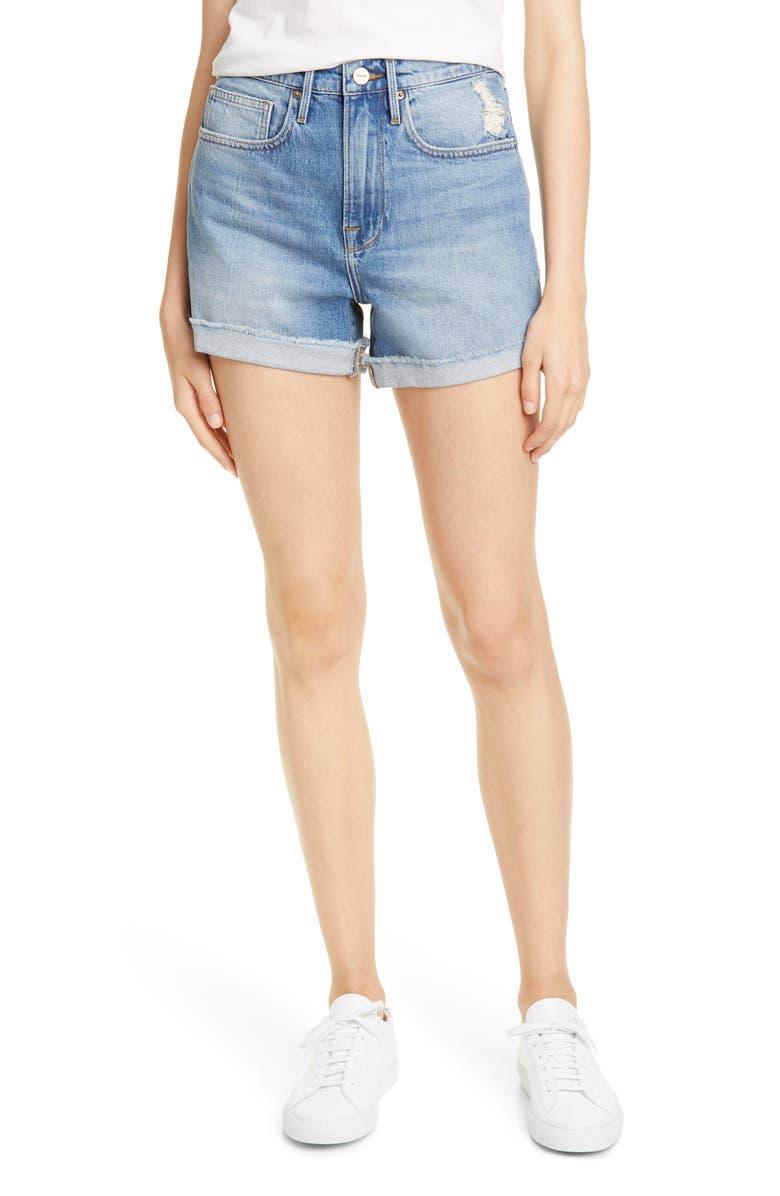 FRAME Le Brigette Raw Cuffed Denim Shorts, Main, color, NORTH BAY