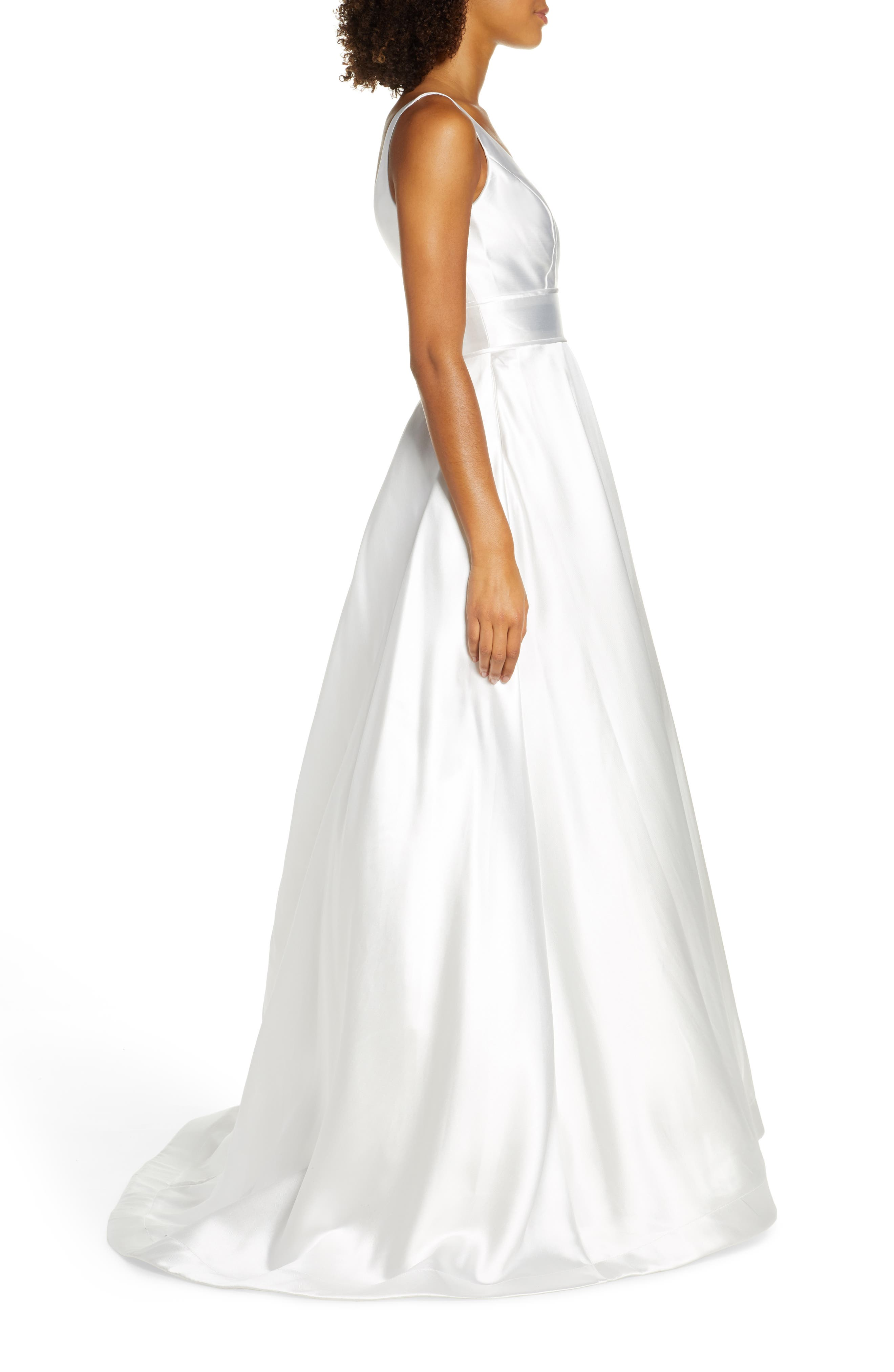,                             Plunging Sweetheart Neck Ballgown,                             Alternate thumbnail 4, color,                             WHITE
