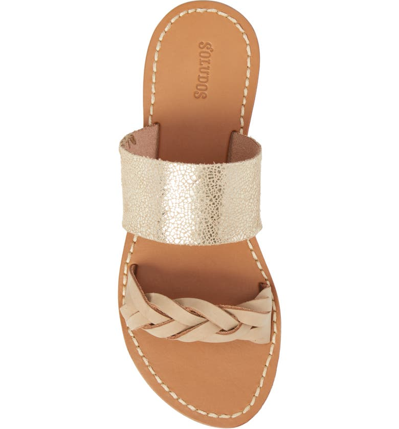 Slide Sandal, Alternate, color, NUDE/ PALE GOLD LEATHER