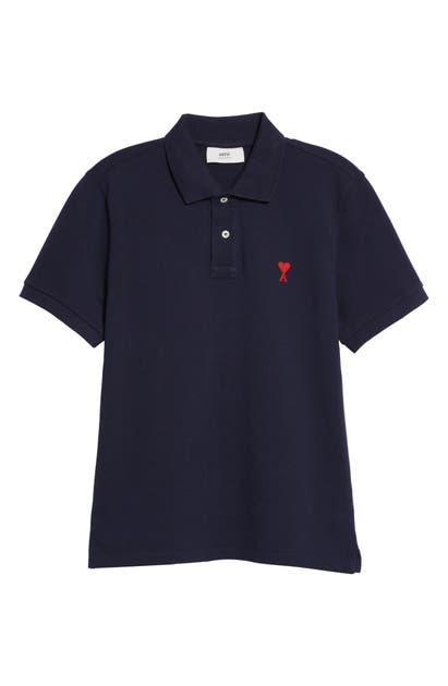Ami Alexandre Mattiussi Cottons EMBROIDERED ORGANIC COTTON PIQUE POLO
