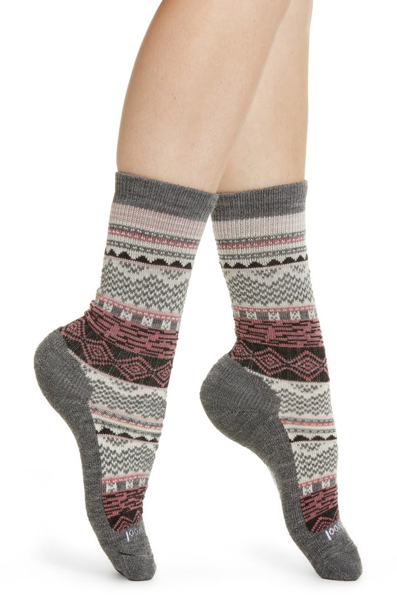 SMARTWOOL Dazzling Wonderland Crew Socks, Main, color, MEDIUM GRAY HEATHER