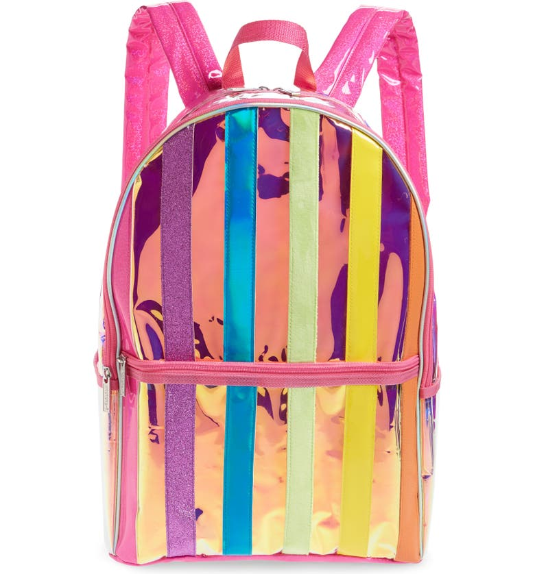 ISCREAM Metallic Rainbow Stripe Backpack, Main, color, MULTI