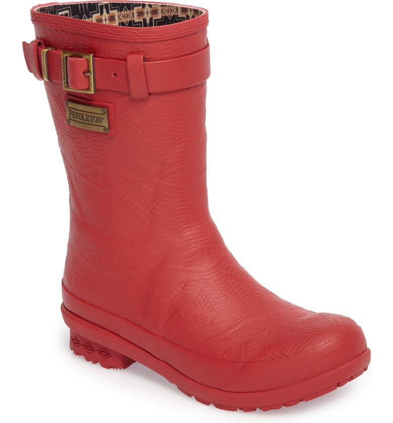 PENDLETON Embossed Short Rain Boot, Main, color, SCARLET