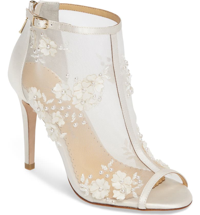 BELLA BELLE Belle Peep Toe Bootie, Main, color, IVORY FABRIC