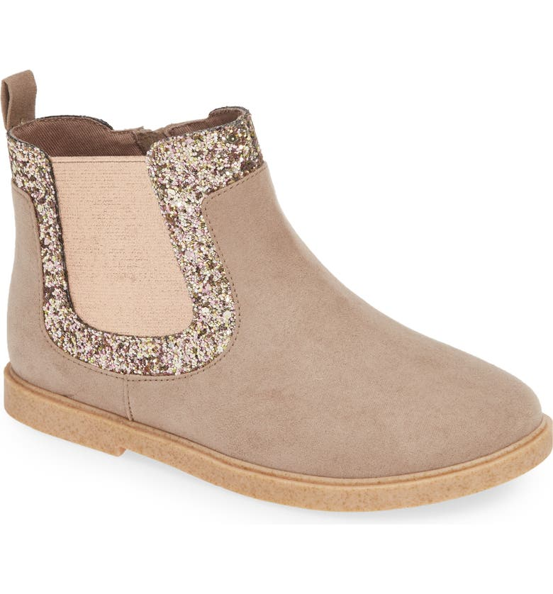 TUCKER + TATE Edna Fab Glitter Bootie, Main, color, TAUPE FAUX SUEDE