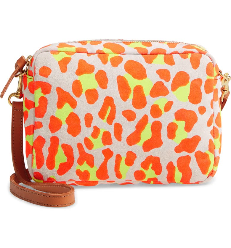 CLARE V. Midi Neon Print Suede Crossbody Bag, Main, color, NEON ORANGE CAT SUEDE