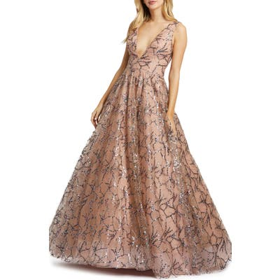 MAC Duggal Sequin Ballgown, Pink