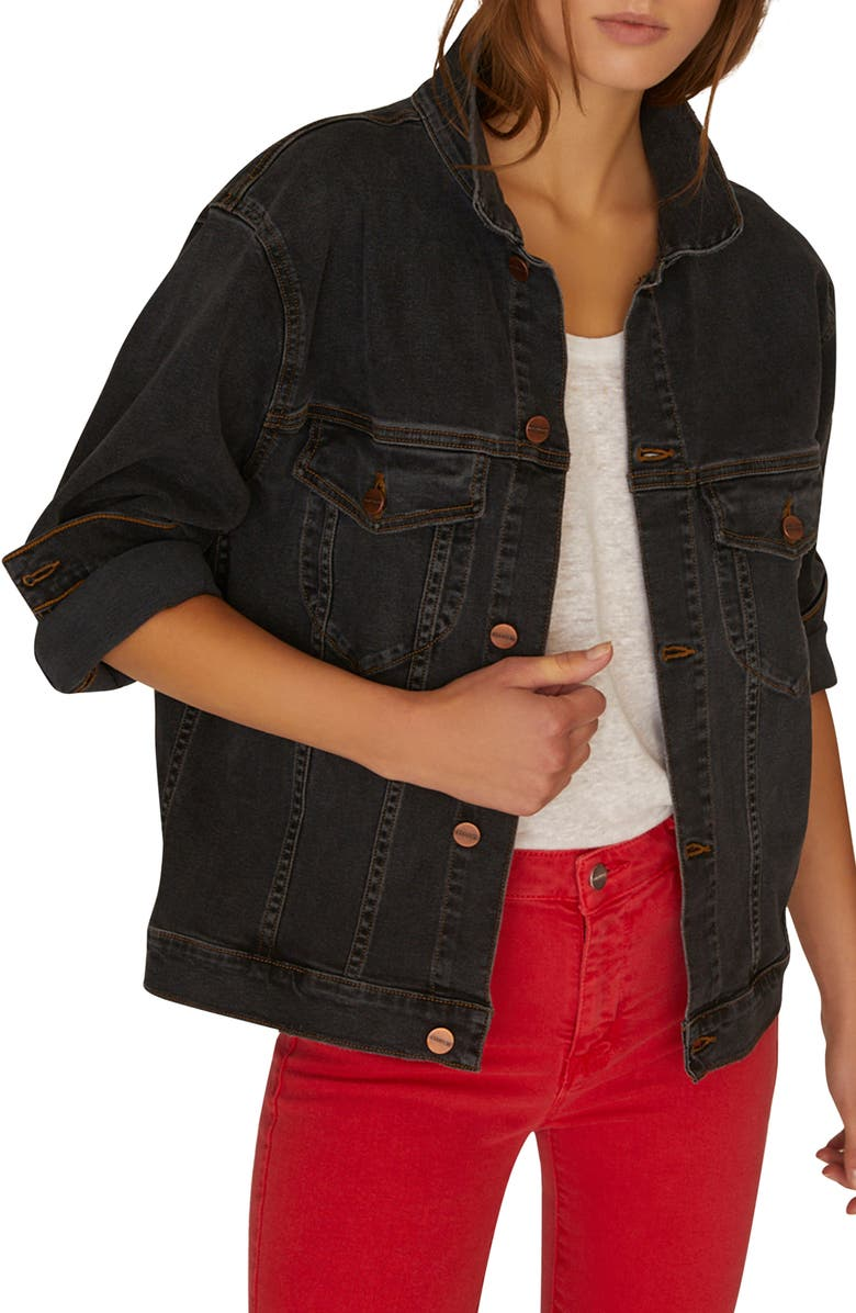 SANCTUARY Axel Oversize Denim Trucker Jacket, Main, color, 001