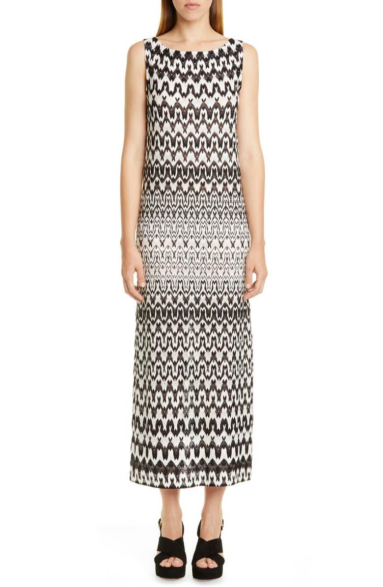 MISSONI Sleeveless Knit Midi Dress, Main, color, BLACK WHITE