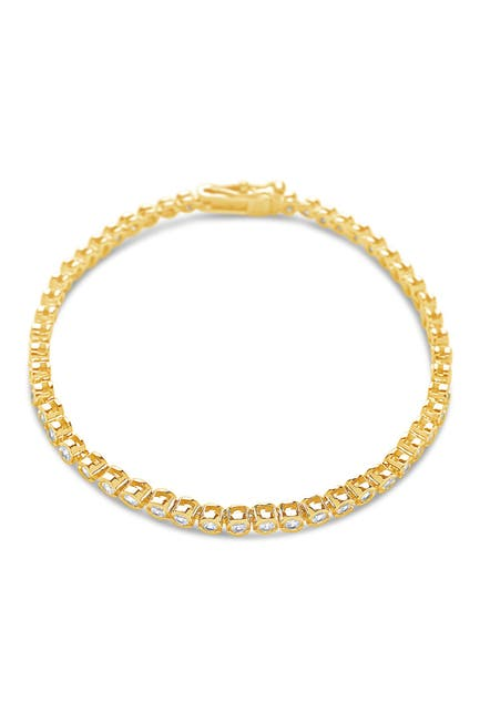 Image of Sterling Forever 14K Gold Plated Brass Bezel CZ Tennis Bracelet