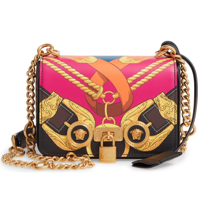 VERSACE Mini Icon Leather Shoulder Bag, Main, color, BLACK MULTI/ TRIBUTE GOLD