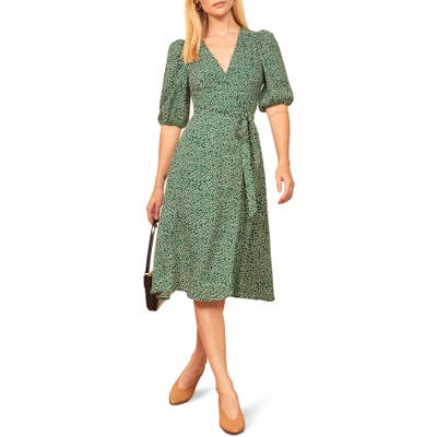 Reformation Christa Puff Sleeve Wrap Dress, Green