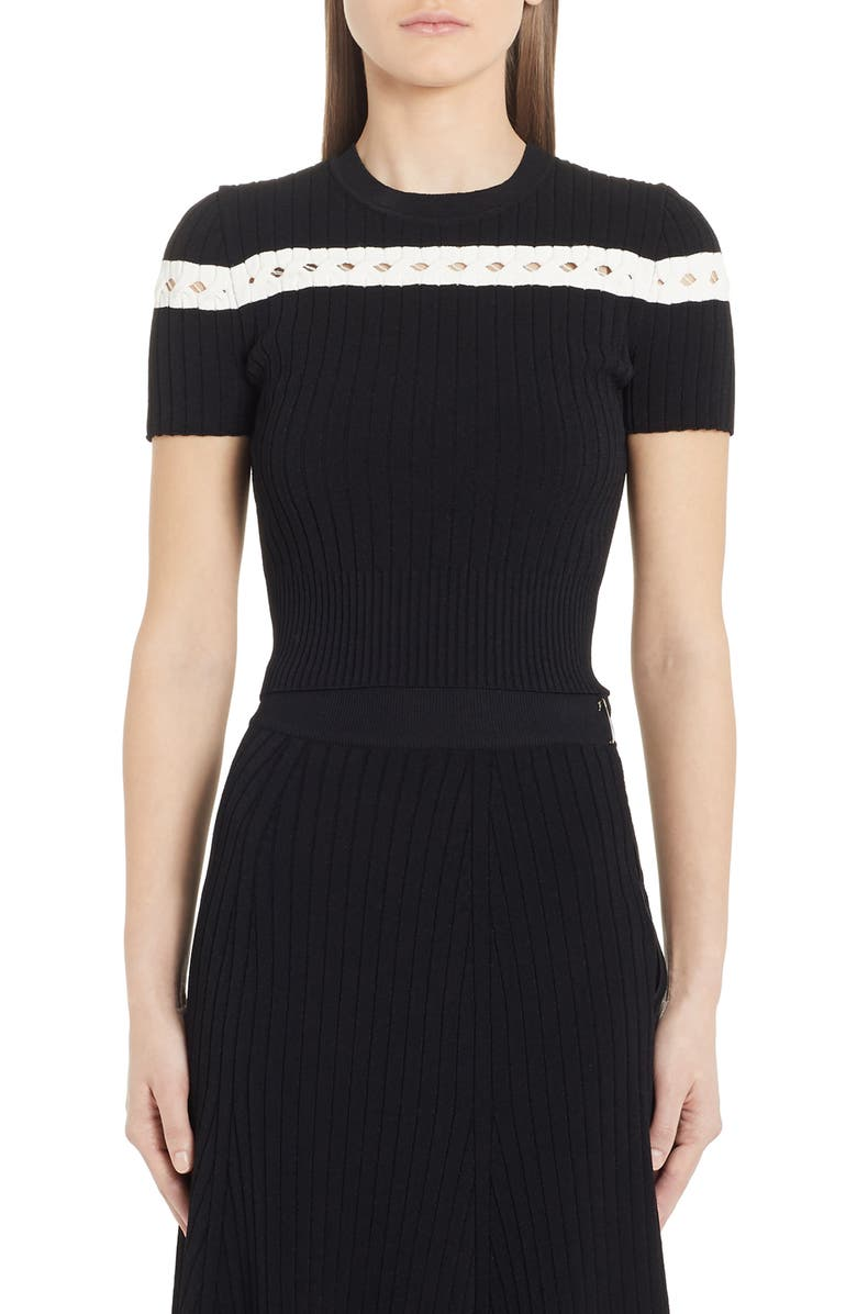 ALEXANDER MCQUEEN Contrast Stripe Ribbed Crop Sweater, Main, color, BLACK/ IVORY