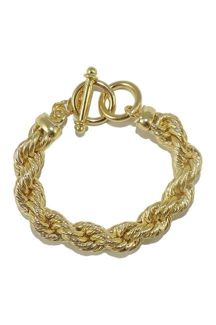 Image of Savvy Cie 18K Gold Plated Bold Rope Toggle Bracelet
