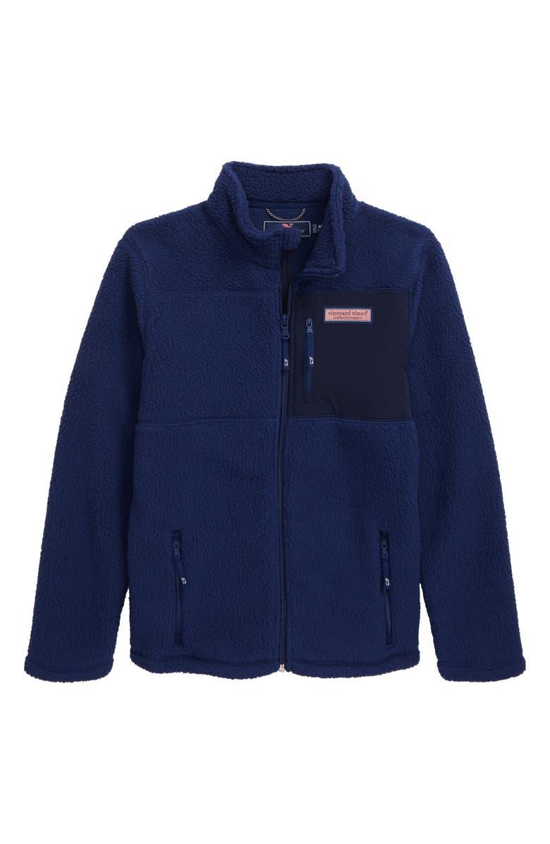 VINEYARD VINES Solid Fleece Full Zip Jacket, Main, color, DEEP BAY
