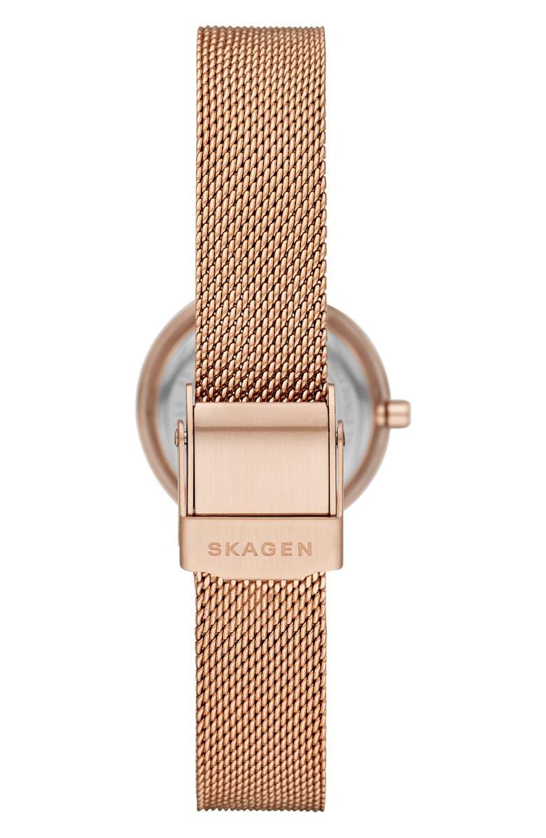 SKAGEN 'Leonora' Faceted Bezel & Stripe Mesh Strap Watch, 25mm, Main, color, ROSE GOLD/ WHITE/ ROSE GOLD
