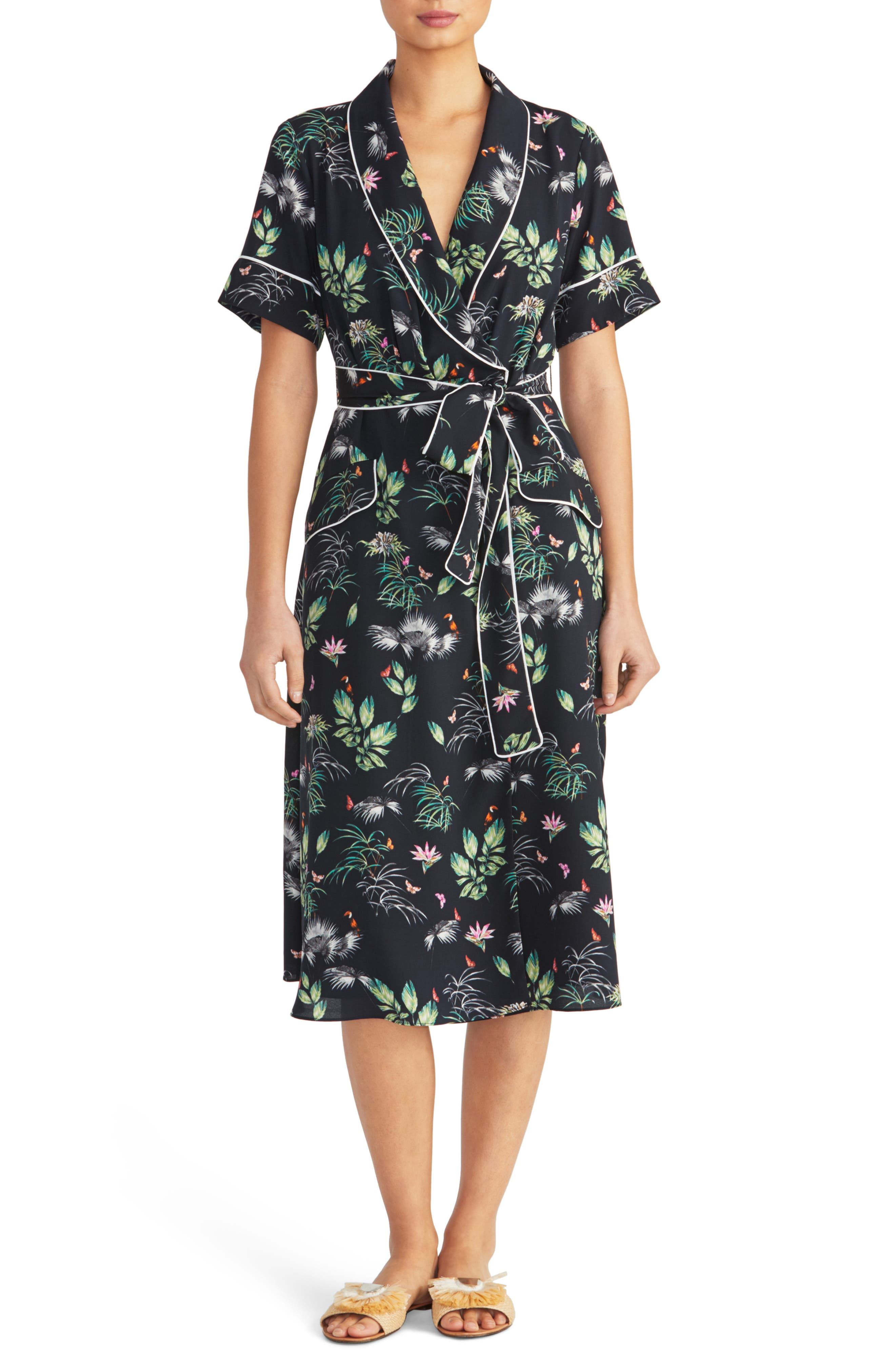 1930s Day Dresses, Afternoon Dresses History Womens Rachel Roy Collection Floral Print Tipped Wrap Dress $89.40 AT vintagedancer.com