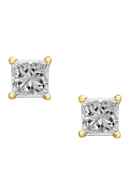 Image of Effy 14K Yellow Gold Prong Set Princess Cut Diamond Stud Earrings - 0.49 ctw