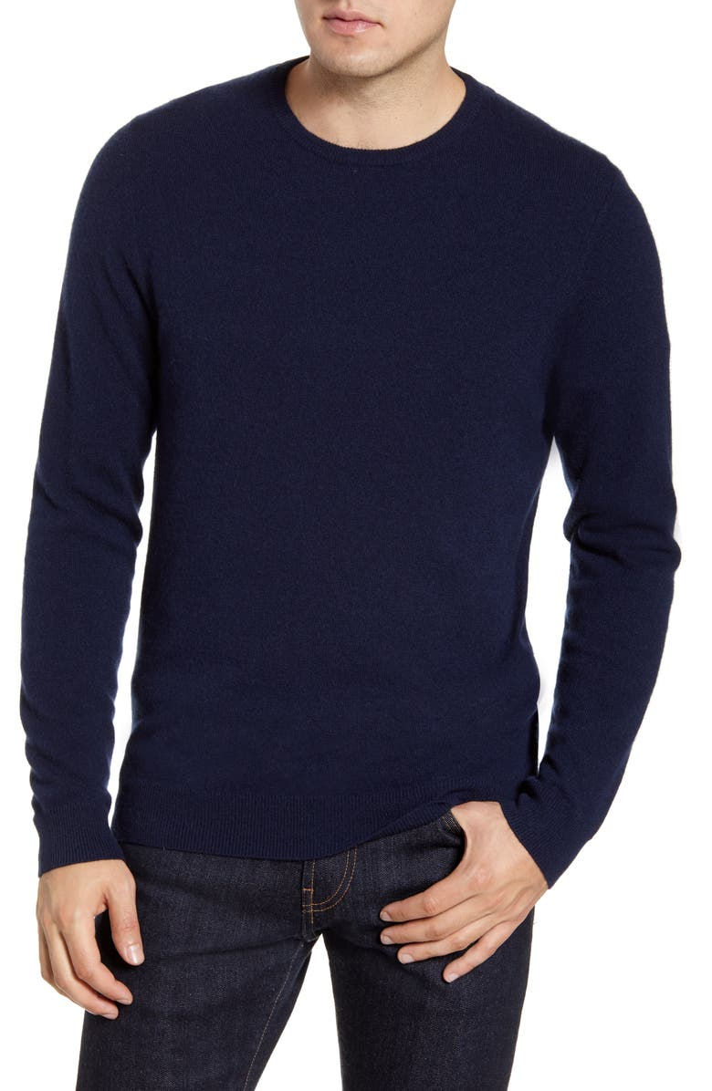 NORDSTROM MEN'S SHOP Cashmere Crewneck Sweater, Main, color, NAVY BLAZER