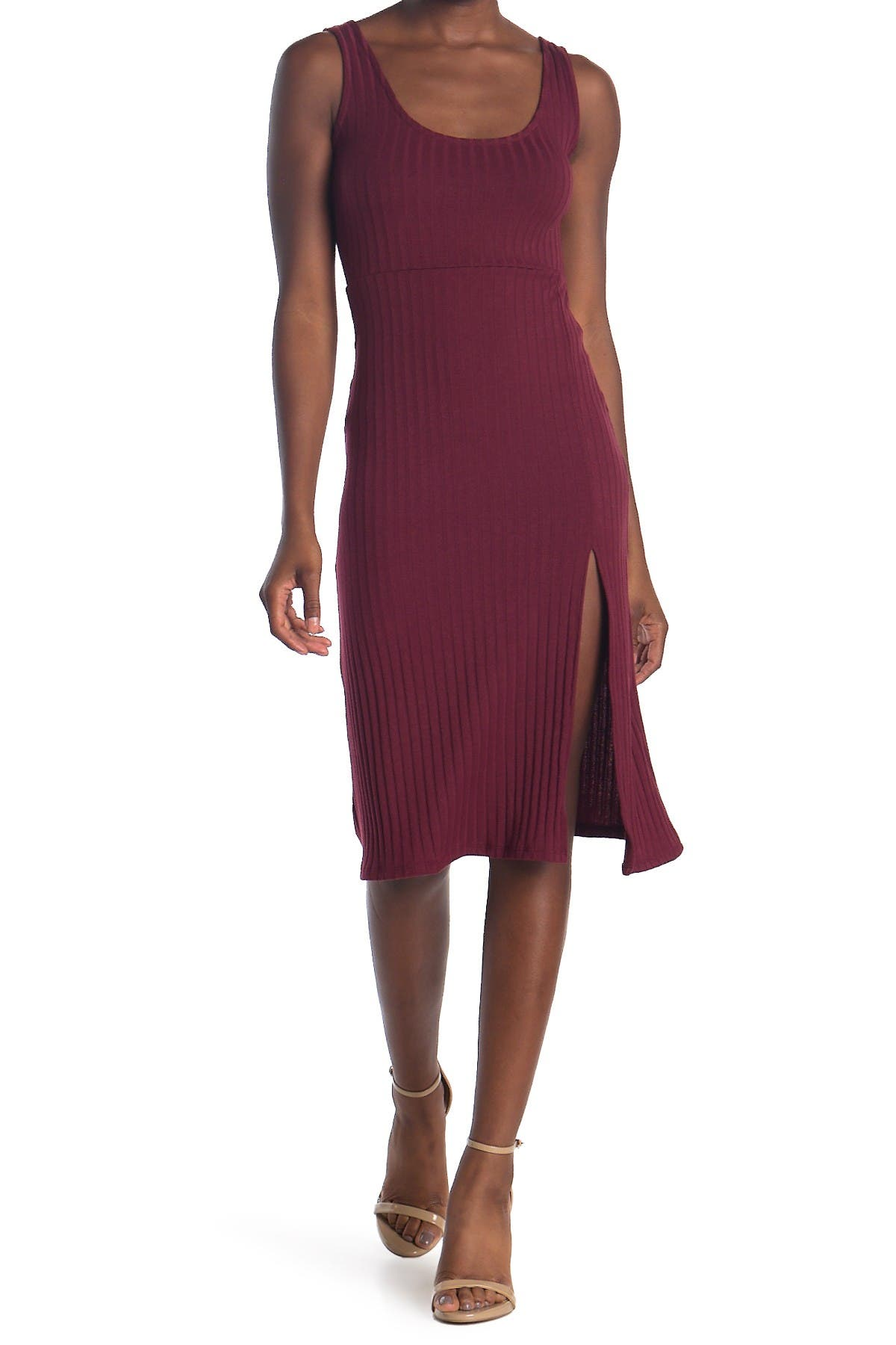Image of Velvet Torch Side Split Ribbed Knit Midi Dress