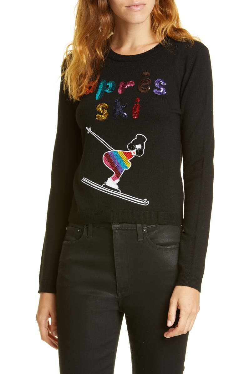 ALICE + OLIVIA Connie Embellished Stretch Wool Sweater, Main, color, BLACK/ BRIGHT PINK