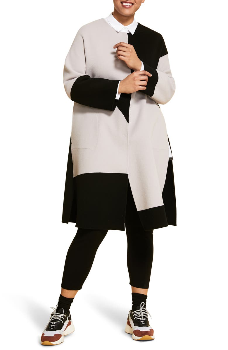 MARINA RINALDI Tipico Colorblock Wool Coat, Main, color, BLACK