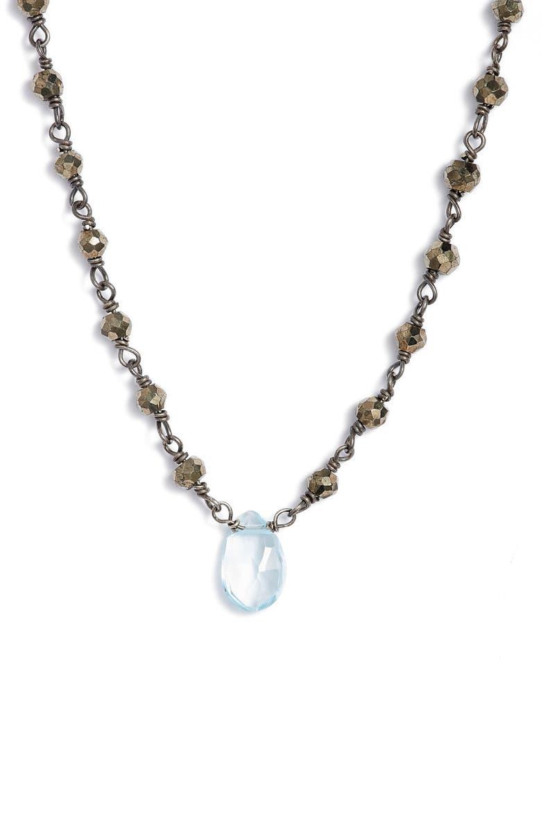 ELA RAE Beaded Collar Necklace, Main, color, PYRITE/ BLUE TOPAZ