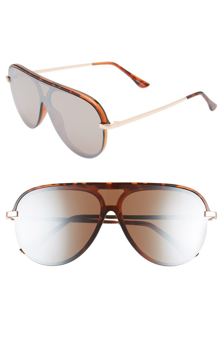 QUAY AUSTRALIA x JLO Empire 57mm Shield Sunglasses, Main, color, TORT/ BROWN FLASH