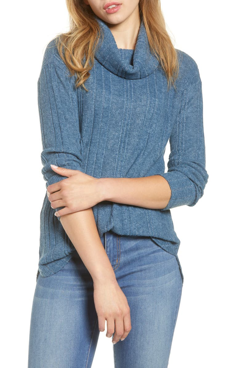 CASLON<SUP>®</SUP> Cozy Cowl Neck Top, Main, color, BLUE W BLUE F MARL