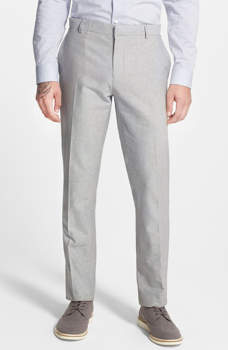 TOPMAN Grey Skinny Fit Oxford Suit Trousers, Main, color, 020