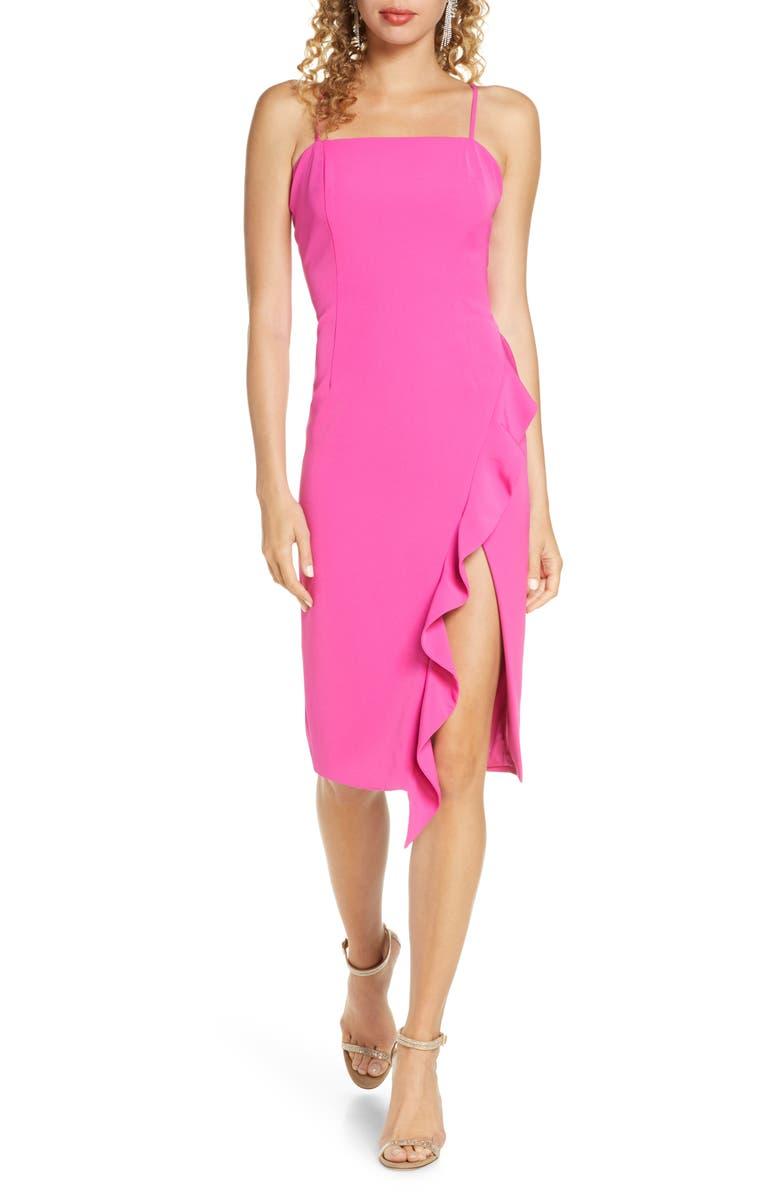 BARDOT Carmelle Cocktail Dress, Main, color, FUCHSIA