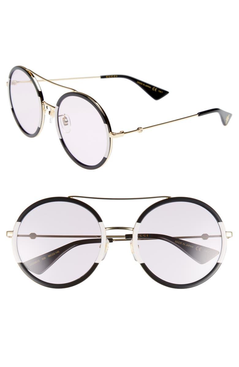 GUCCI 56mm Round Sunglasses, Main, color, 715