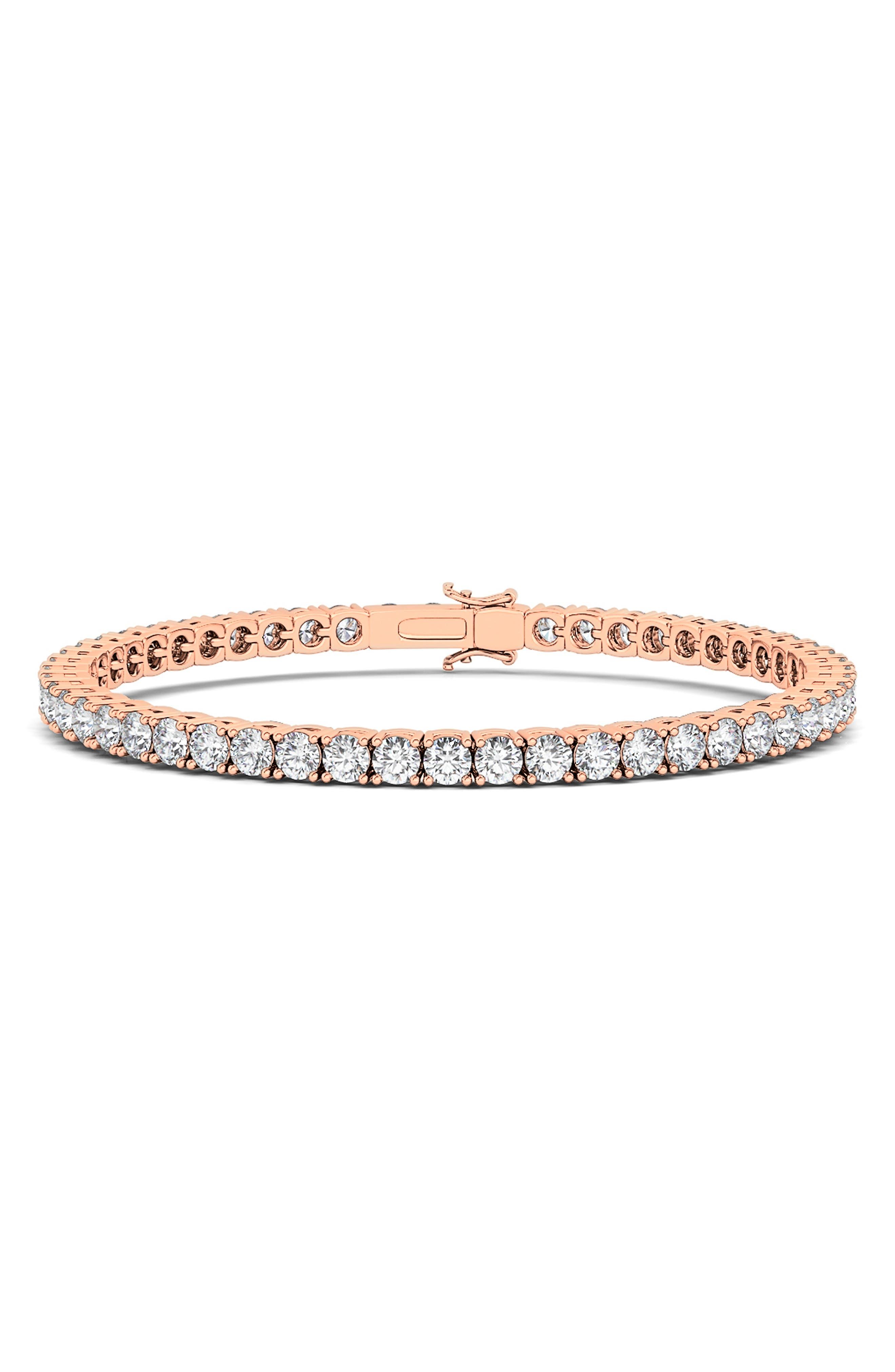4-Prong 7Ct Lab Created Diamond 14K Gold Tennis Bracelet