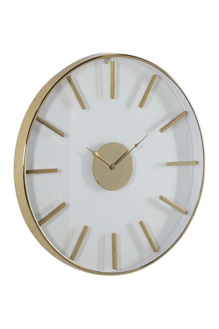 "Image of Willow Row Large Round Gold Stainless Steel Modern Wall Clock - 30"" x 30"""
