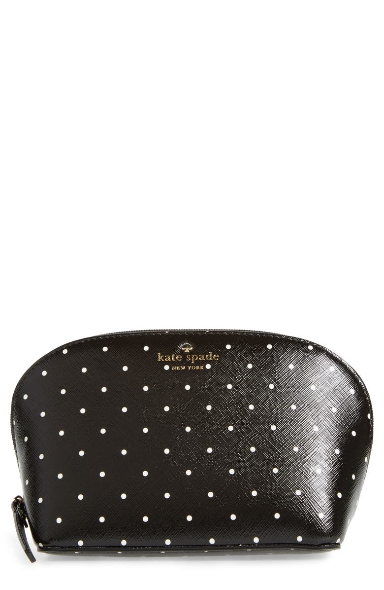 KATE SPADE NEW YORK brooks drive - small abalene faux leather pouch, Main, color, 001